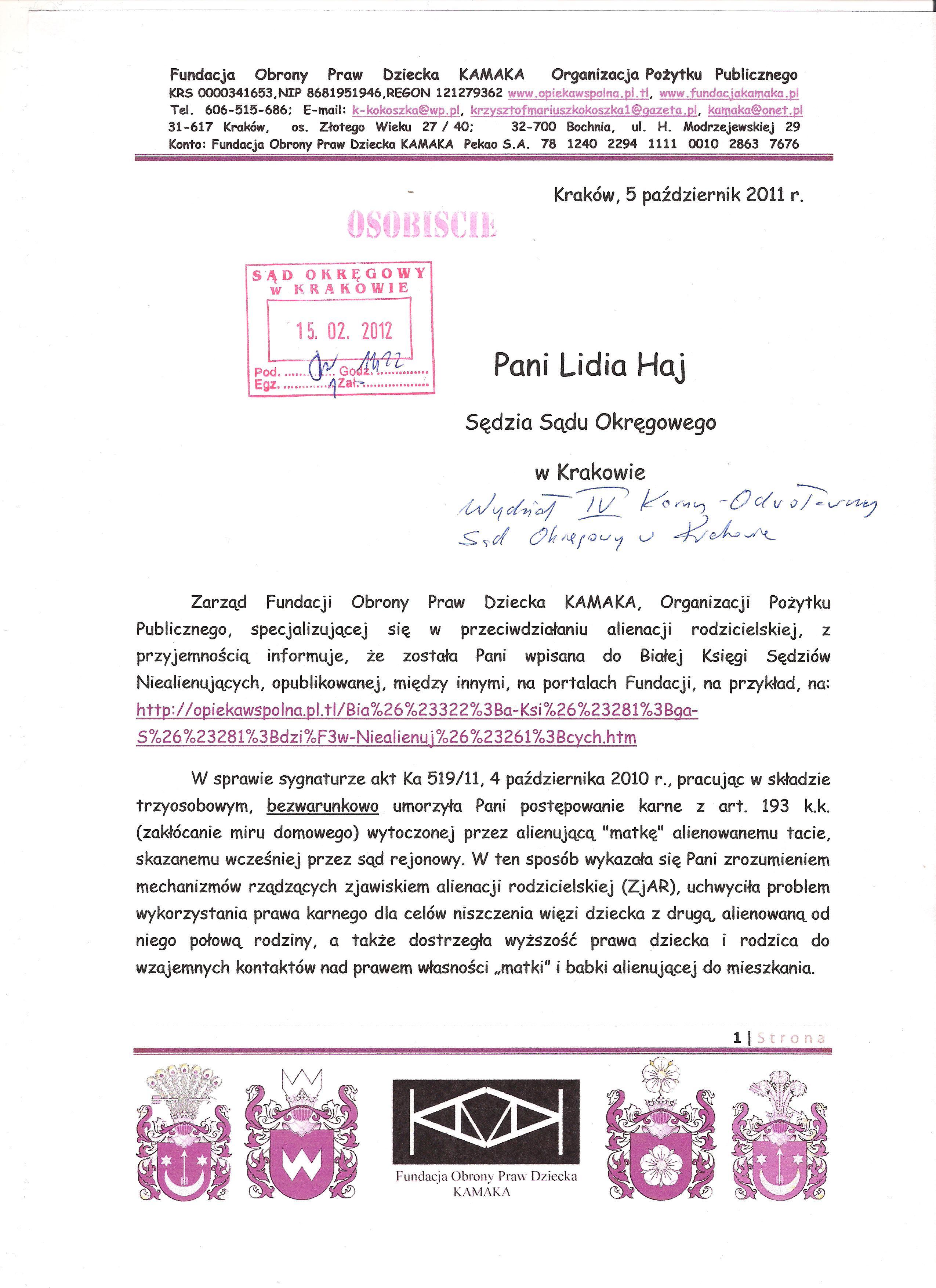 Sędzia Lidia Haj z Krakowa str 1