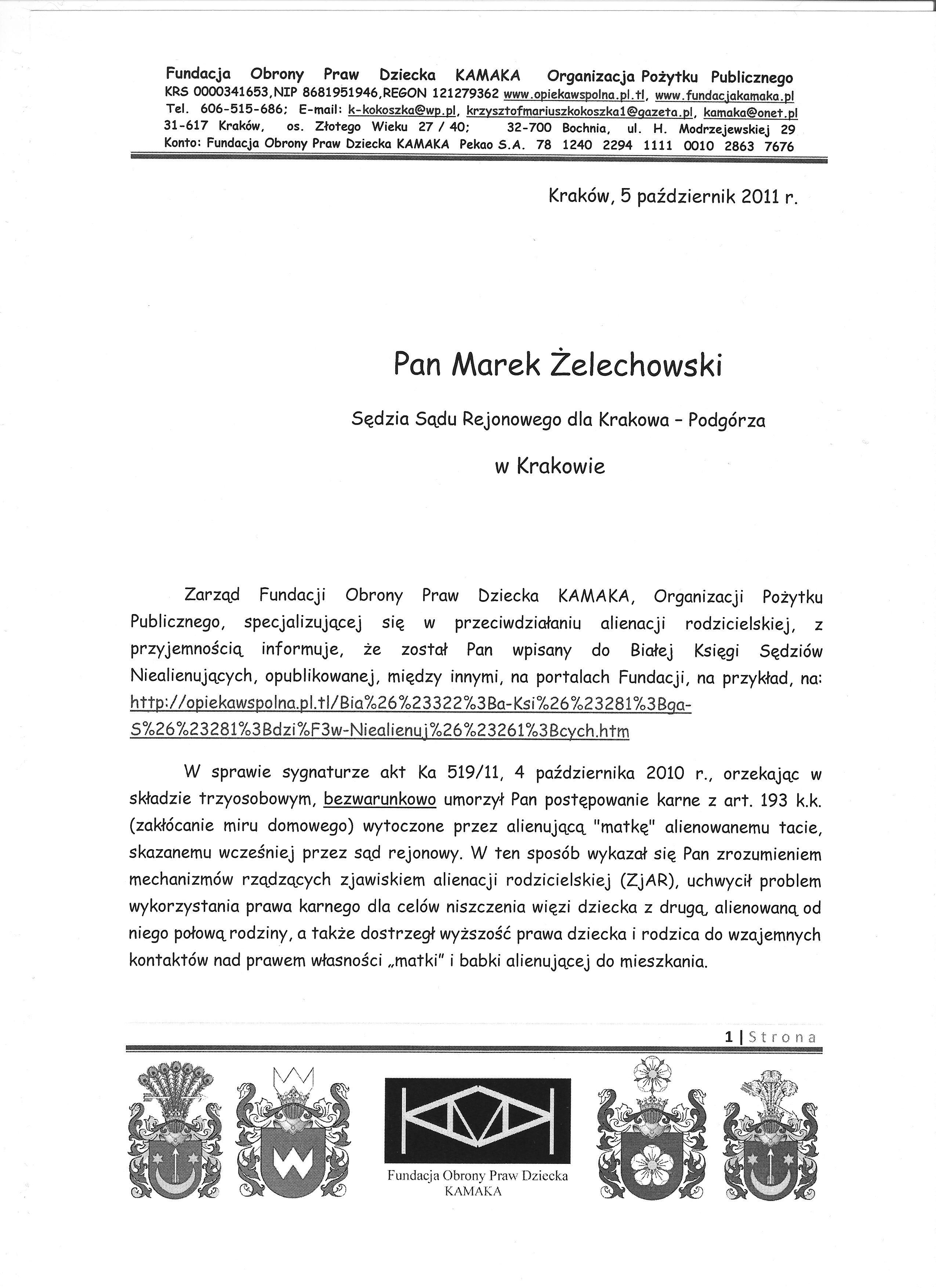 Sędzia Marek Żelechowski z Krakowa str 1