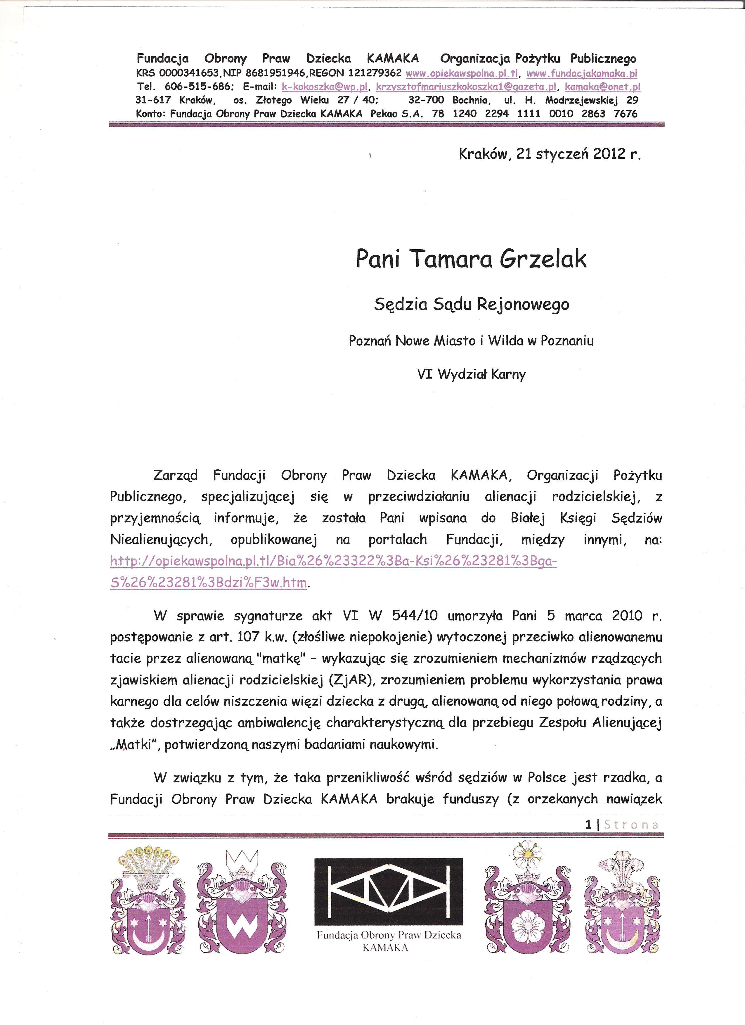 Sędzia Tamara Grzelak z Poznania str 1